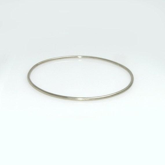 solid gold bangle bracelet 14k solid white gold by gilatartzi