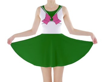 Adult Sailor Jupiter Sailor Moon Inspired Skater Dress
