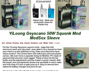 "YiLoong Geyscano Squonk Mod 50W  ""ModSox"" Sleeve wrap case holder holster pouch glove cover custom handmade"
