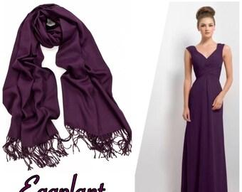 Eggplant Wedding Pashmina. Bridesmaid shawls. Scarf.