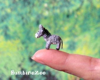 Mini donkey - miniature amigurumi crochet donkey - with free handmade box.