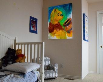 winnie the pooh, Pooh, poohbear, Pop Art, Nursery, Wall Canvas, Kids Playroom, Children's Book, Large, Fan