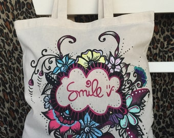 hand painted tote bag. cotton tote bag. smile. gift ideas. for girls. hand painted cloth bag. bag 100% cotton