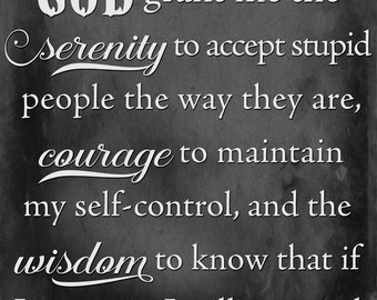 Stupid People, Serenity Prayer, Humorous sign, SVG, DFX, PNG, Eps, Vinyl, Silhouette, Cameo, Cricut, Cutting Machine