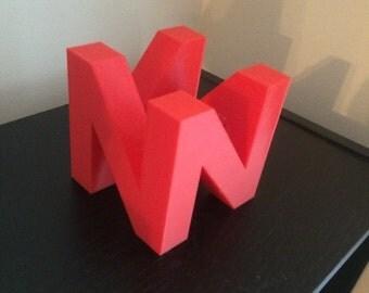 N64 logo, Made in USA, 3D printed, Retro Gaming, Nintento