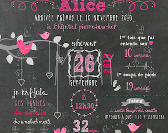 Displays custom shower baby - digital chalkboard_FICHIER, future birth, displays pregnancy, remember