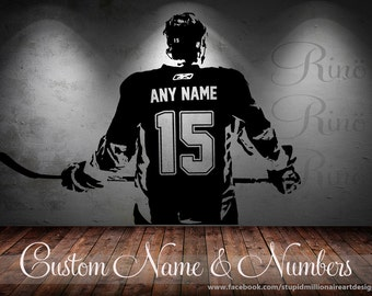 Wall art Custom Large ice Hockey Player choose jersey name and numbers Vinyl wall Decal sticker decor crosby McDavid kids bedroom sports