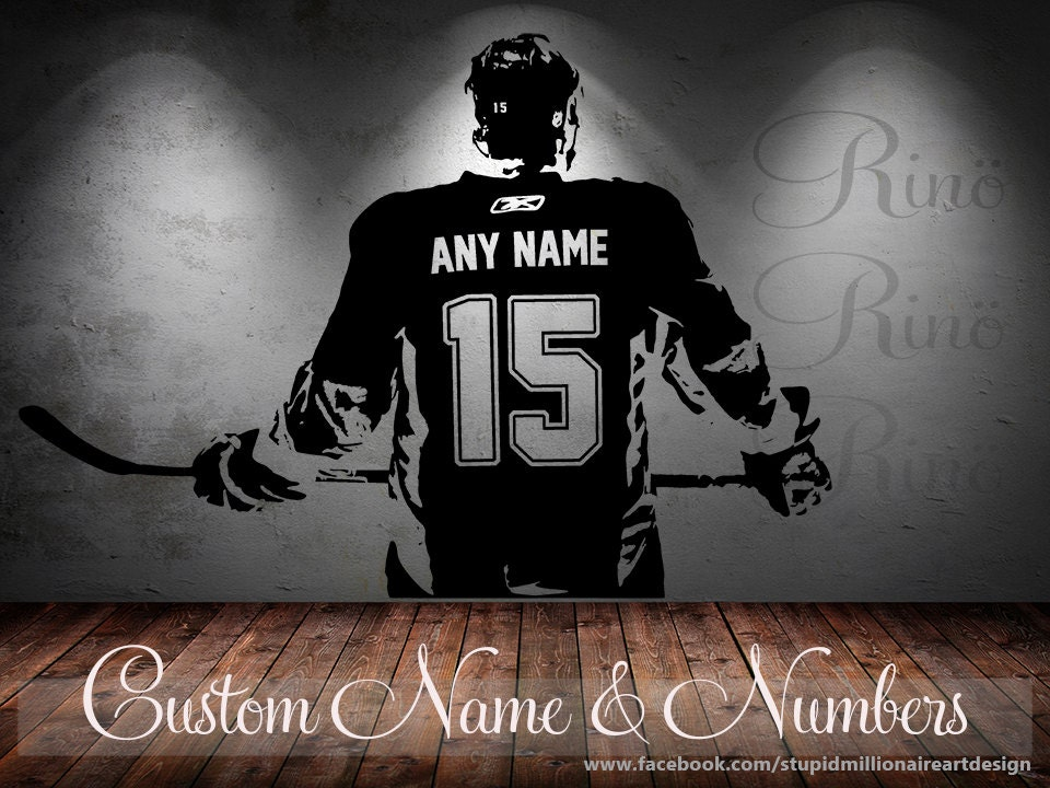 Wall Art Custom Large Ice Hockey Player Choose Jersey Name And - Custom vinyl wall decals large
