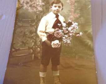 Vintage French Postcard - Young Boy with Flowers