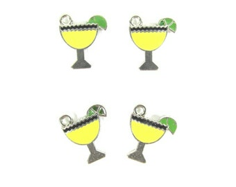 Yellow Martini Charms ~  Drink Glass Charms | Jewelry Charms | Bracelet Charms | Necklace Charms