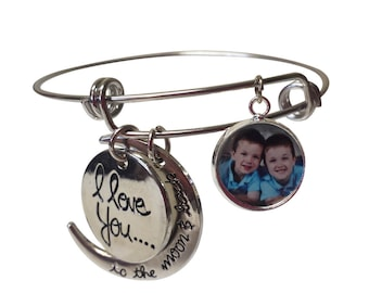 I Love You To The Moon and Back Bangle Bracelet- I Love You To The Moon and Back Charm Bracelet- I Love You To The Moon and Back Jewelry