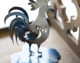 Hand forged wrought iron rooster