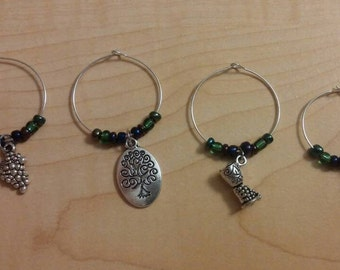 Wine glass charms - set of 4