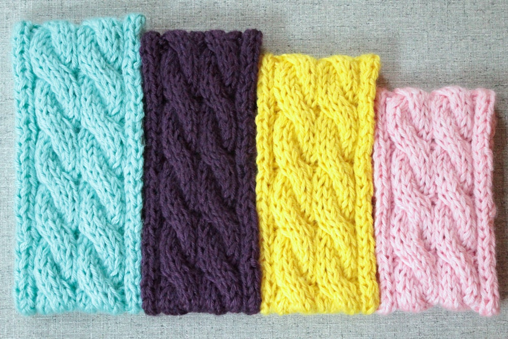 Double Knitting Headband Pattern : Knitting Pattern: Cable Knit Ear Warmer Colorful Headband