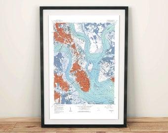 Charleston SC Map, Charleston SC, Charleston, Charleston Map, City Map Artwork, Vintage Map Print, Charleston Print, Travel Map