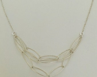 Multi strand necklace, sterling silver links, sterling silver chain.