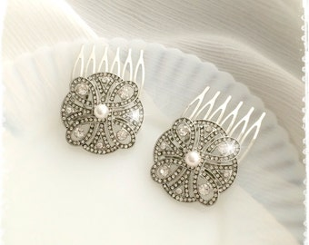 "Set of 2 Crystal Swarovski Pearl Art Deco Gatsby Inspired Hair Combs-Wedding Hair Accessories-Bridal Bridesmaids Small Combs-""CHERYL pearl"""