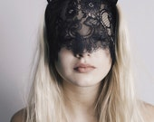 20% OFF VALENTINES SALE Handmade cat ears mask from black lace, for editorial photoshoot, masquerade or a party