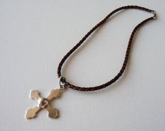 SALE, Vintage Sterling Silver Cross Pendant Necklace, Leather Rope Necklace, Cross Necklace, 925 Cross,Modern Cross, Cross Jewelry, Crucifix