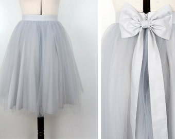 PALE GREY tulle knee length prom skirt, bridal, bridesmaid, christmas party, new years, wedding