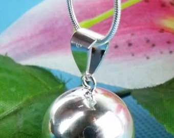 Sterling Silver Overlay Angel Bell Ball Pendant