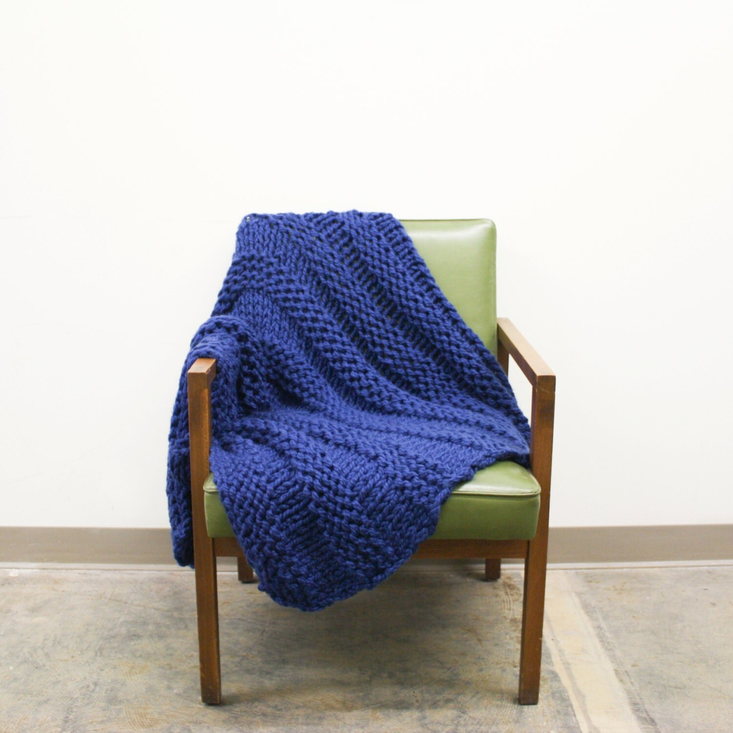 Large Knitting Blankets : Chunky knit blanket wool large
