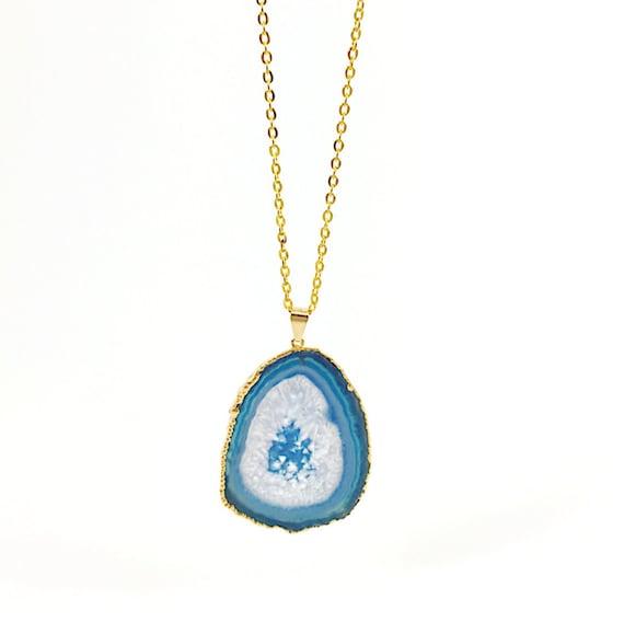 Agate Necklace Geode Slice Blue Gemstone Necklace Gold