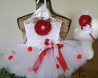 White and red tutu, red and white tutu, tutu dress