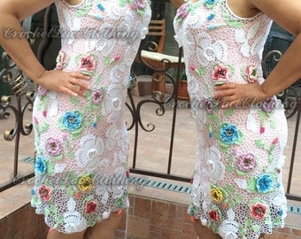 Lace dress white floral special occasion crochet Irish lace wedding evening prom classy Plus Size