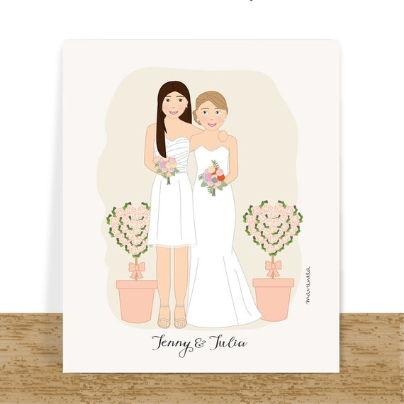 Personalised Wedding Gifts For Gay Couples : Lesbian wedding gift, custom couple portrait, anniversary gift for her ...