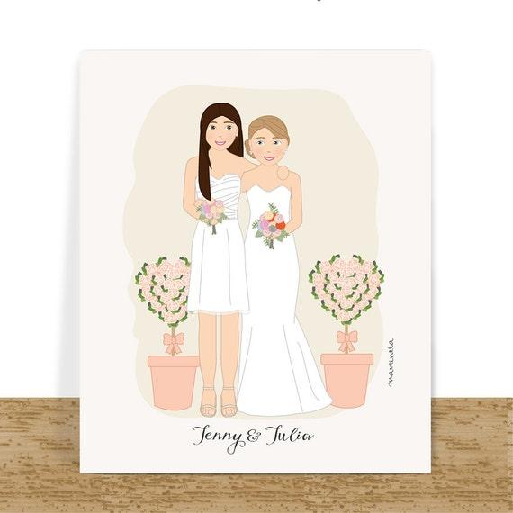 Lesbian wedding gift, custom couple portrait, anniversary gift for her ...