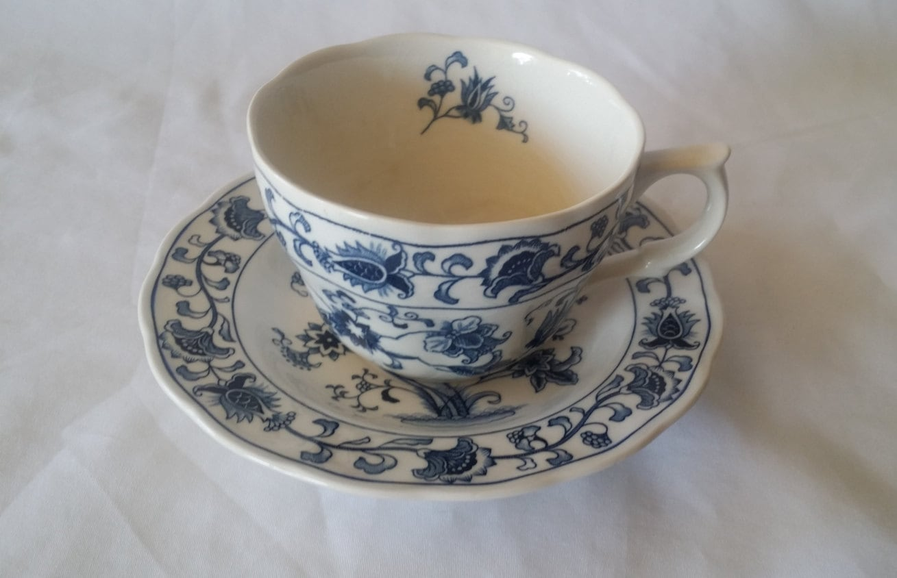 Teacup And Saucer Set ~ Blue And White Nikko Ironstone Double Phoenix Ming  Tree Tea Cup And Saucer Japan