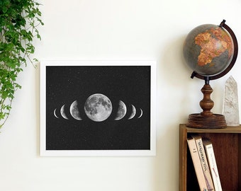 Moon Print | Moon Phases Wall Art | Astronomy Poster