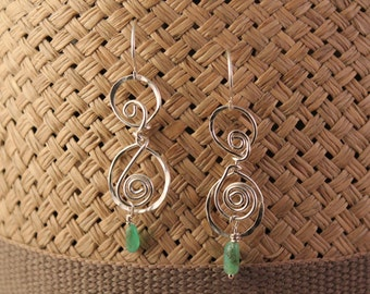 Wire-wrapped silver dangle earrings with green stone