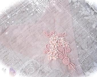 Pink Ribbon Embroidery Yoke Rhinestone & Pearls Vintage Trims BA-180
