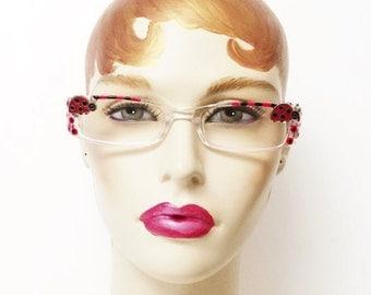 Ladybug Eyeglasses, Reading Glasses +1.75, Love Bug , Red and Black