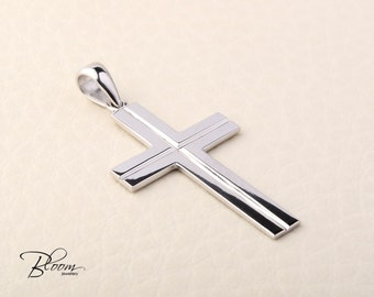 White Gold Cross Necklace 14K Solid Gold Cross Pendant Mens Gold Cross 14K White Gold Pendant for Man - Bloom Jewellery