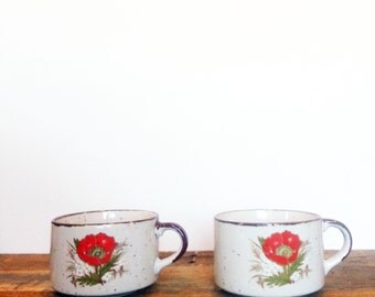 SALE*** Two Mid-century Poppy Mugs. Speckled, Stoneware Soup Mugs with a Red Floral Design. Great Valentines or Mother's Day Gift.