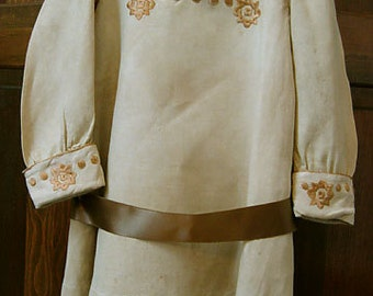 Heirloom Child's Dress, Embroidered Ecru Linen, Circa 1910, Exceptional Quality, Free Shipping