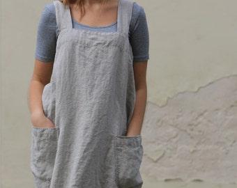 Linen Pinafore apron / Square Cross Linen Apron / Japanese Apron / Washed long apron / Sizes XXS to XXL / linen apron / linen tunic
