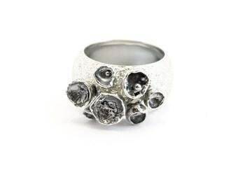Ring flowers sterling silver handmade ring gift for women
