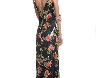Open Back Maxi Dress, Summer Maxi Dress, Japaness Dress, Long Summer Dress, Black Flower Print Dress - Mirabel