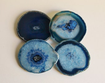 Agate Coasters,  Blue Brazilian, Set of 4