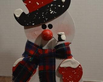 Handmade Wood Folk Art Snowman