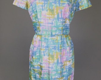 Sale! Vintage 60s, Pastel Dress // Watercolor Pink, Blue, Yellow, Green, Womens Size Small