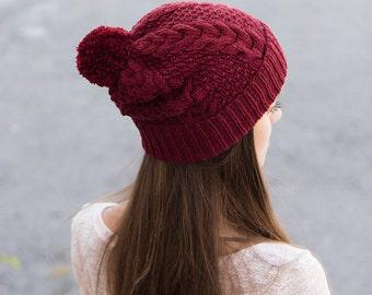 Marsala Beanie - Maroon Hat - Burgundy Pom Pom Hat - Merino Pompom Beanie - Knit Beanie Hat - Ladies Bobble Hat - Bobble Beanie