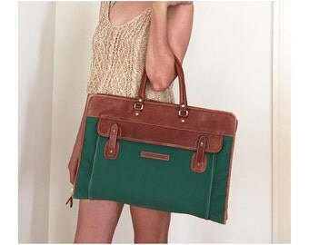 Vintage Portfolio Bag - Leather Trim Green Canvas Weekender - Office Laptop Carry on Bag - Rugged Mens Bag - Tote Bag - Overnighter