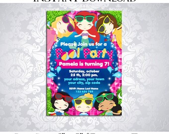 50% OFF SALE Princess Pool Party Invitation Editable Text, PDF, Instant Download - Girl Girls