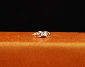 Art Deco 14K yellow and white gold Diamond Ring