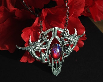 Srebra - Fantasy Inspired Steampunk Dragon's Breath Opal Pendant Jewelry Entrapment Series